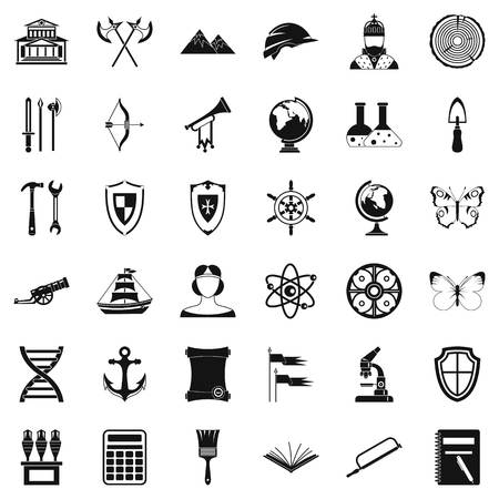 roman column: Archeology icons set. Simple style of 36 archeology vector icons for web isolated on white background