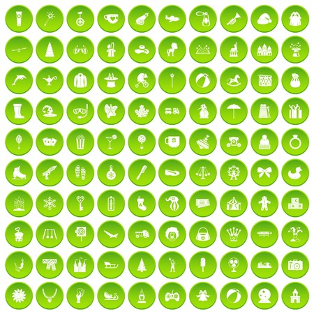 100 children icons set green