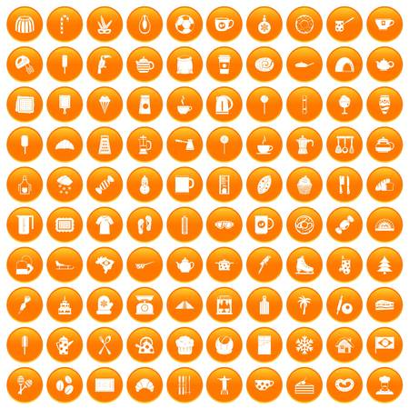 100 coffee icons set in orange circle isolated on white vector illustration