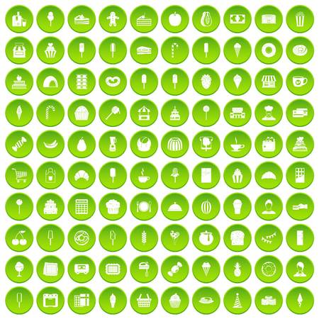 100 dessert icons set green Illustration