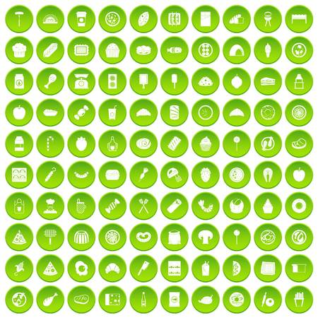 100 delicious dishes icons set in green circle isolated on white vectr illustration