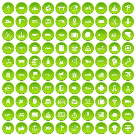 100 delivery icons set green Illustration