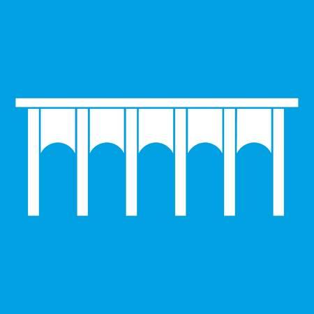 Bridge icon white isolated on blue background vector illustration Illustration