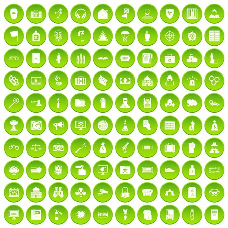 100 crime icons set in green circle isolated on white vectr illustration Illustration