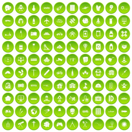 100 development icons set in green circle isolated on white vectr illustration