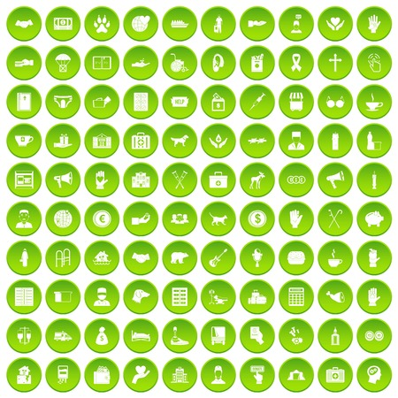 100 donation icons set in green circle isolated on white vectr illustration