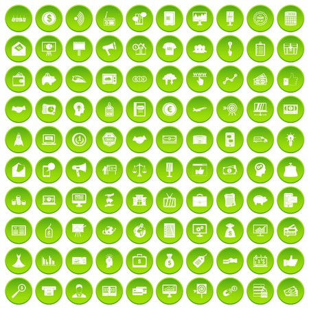 100 e-commerce icons set in green circle isolated on white vectr illustration
