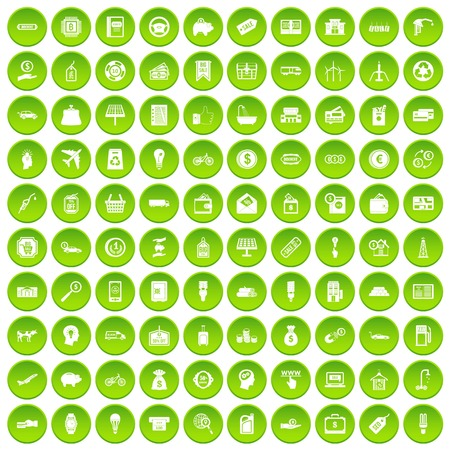 100 economy icons set in green circle isolated on white vectr illustration