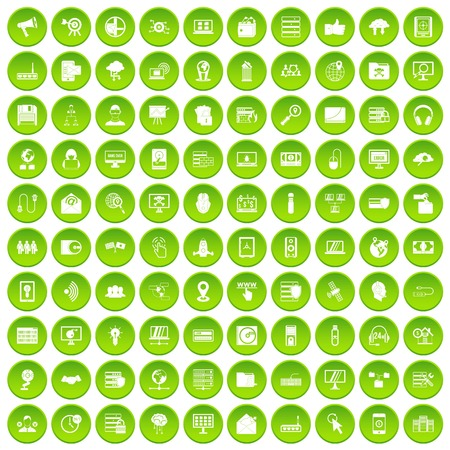 100 cyber security icons set in green circle isolated on white vectr illustration Illustration
