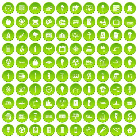 100 electricity icons set in green circle isolated on white vectr illustration Illustration