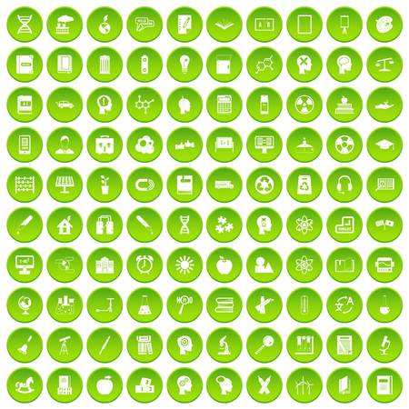 100 education icons set in green circle isolated on white vectr illustration Illustration