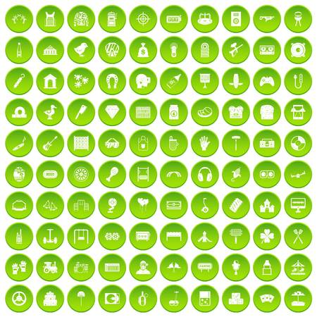 paintball: 100 entertainment icons set in green circle isolated on white vectr illustration