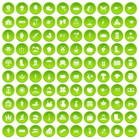 100 farm icons set in green circle isolated on white vectr illustration Illustration