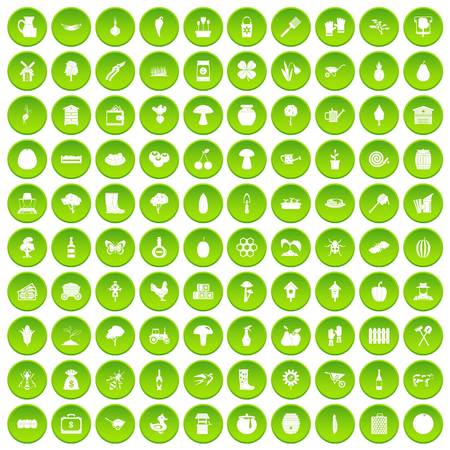 100 farming icons set in green circle isolated on white vectr illustration Illustration