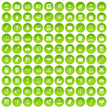 100 finance icons set in green circle isolated on white vectr illustration