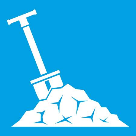 Shovel in coal icon white isolated on blue background vector illustration Illustration