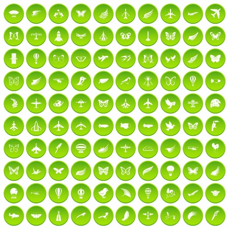 100 fly icons set in green circle isolated on white vectr illustration