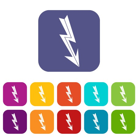 Arrow lightning icons set vector illustration in flat style in colors red, blue, green, and other