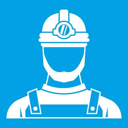 excavation: Male miner icon white isolated on blue background vector illustration