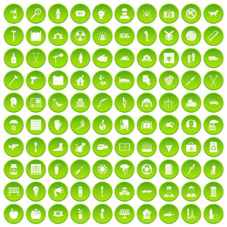 100 help icons set in green circle isolated on white vectr illustration Illustration