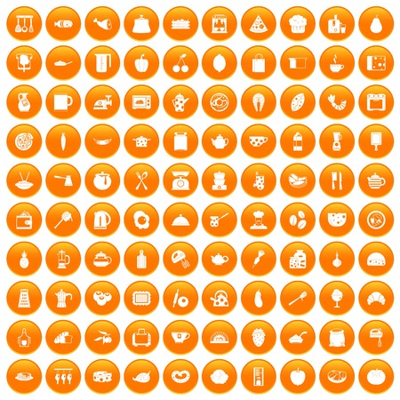 100 cooking icons set orange