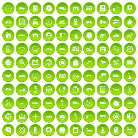 100 garage icons set green