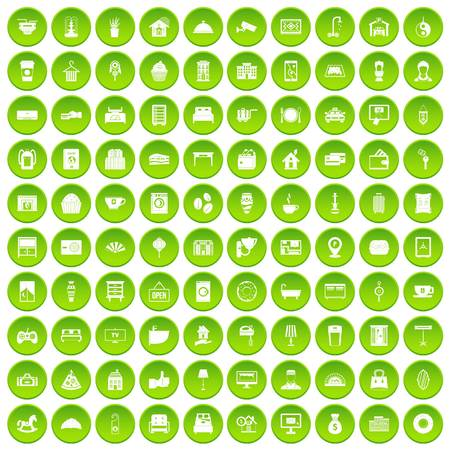 100 hotel icons set green