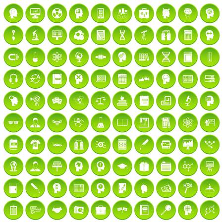100 knowledge icons set green