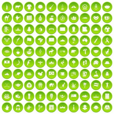 bandera japon: 100 puntos de referencia iconos conjunto verde Vectores