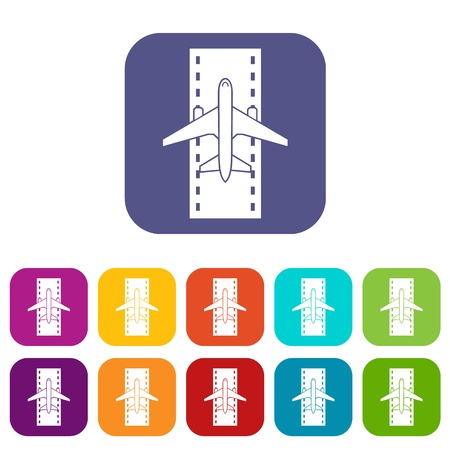 Airplane on the runway icons set