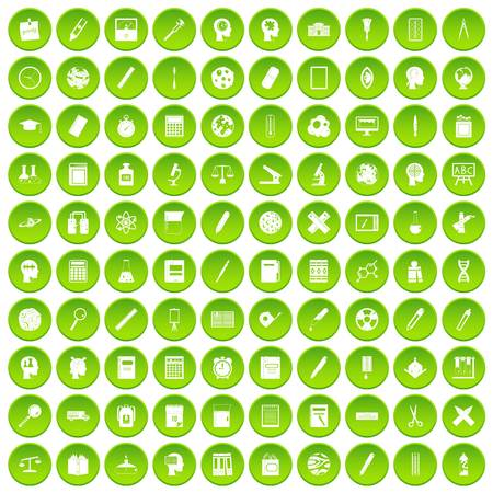 100 learning icons set green
