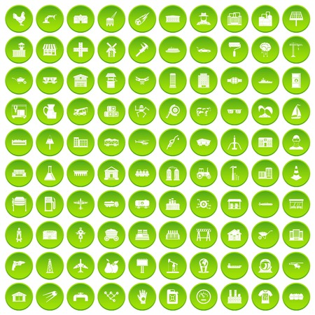 100 industry icons set green Illustration