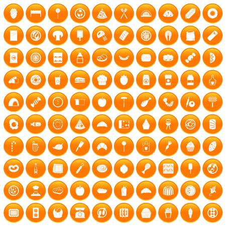 100 delicious dishes icons set orange