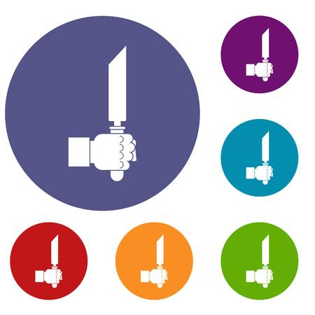 Pincer or plier in man hand icons set Illustration