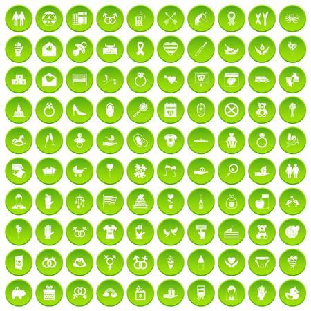 100 love icons set green