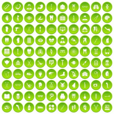 100 medicine icons set green Illustration