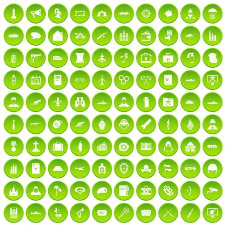 100 military icons set in green circle isolated on white vectr illustration Illustration