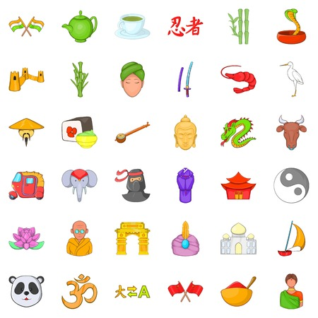 Chinese travel icons set. Cartoon style of 36 chinese travel vector icons for web isolated on white background