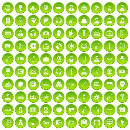 100 music icons set in green circle isolated on white vectr illustration