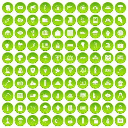 cross match: 100 natural disasters icons set green