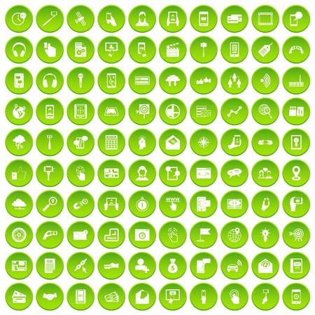 100 mobile icons set in green circle isolated on white vectr illustration Illustration