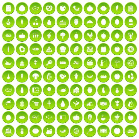 100 natural products icons set in green circle isolated on white vectr illustration Illustration