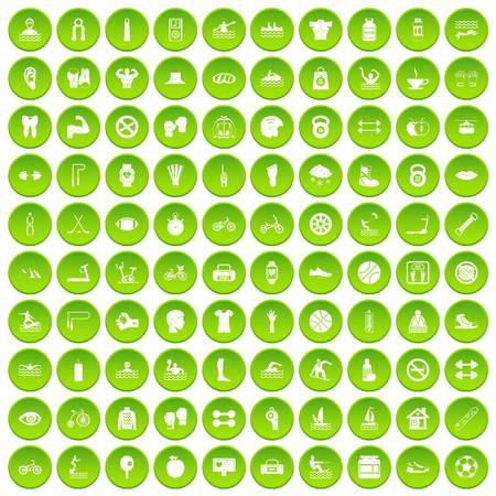 100 men health icons set in green circle isolated on white vectr illustration Illustration