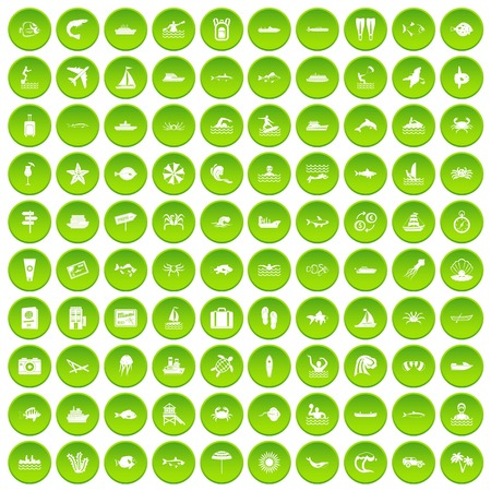 100 ocean icons set in green circle isolated on white vectr illustration Illustration
