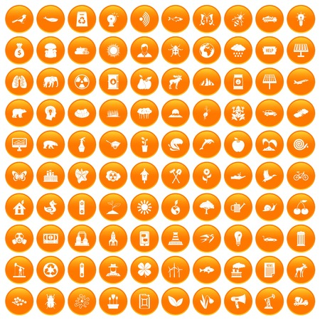 100 eco care icons set in orange circle isolated on white vector illustration