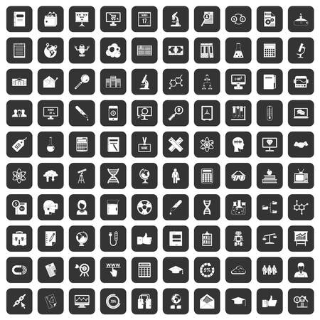tactics: 100 analytics icons set in black color isolated vector illustration