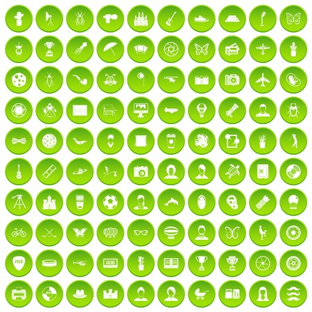 100 photo icons set in green circle isolated on white vectr illustration