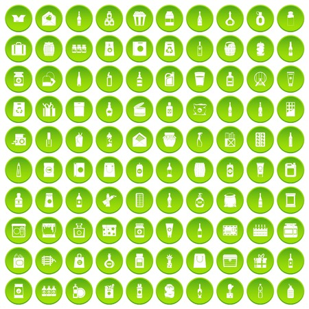 100 packaging icons set in green circle isolated on white vectr illustration
