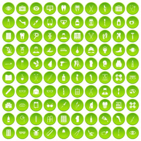 100 pharmacy icons set in green circle isolated on white vectr illustration
