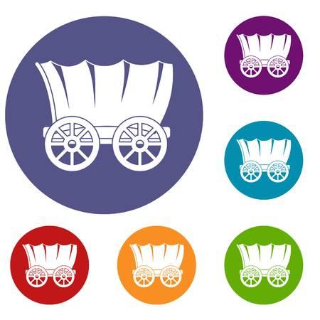 Oude westelijke behandelde wagenpictogrammen die in vlakke cirkel rode, blauwe en groene kleur voor Web worden geplaatst